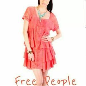 FREE PEOPLE Coral Ruffle Dress